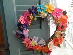 handmade wreath with polymer clay flowers (diameter 25 cm) information asimi kai fos:elmousou@live.com