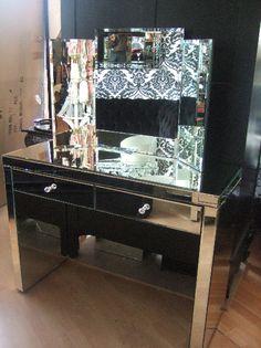 Venetian Mirrored Furniture | Art Deco Mirrors | Venetian Mirrored Bedroom Furniture - deco triple mirror.... I want this too!