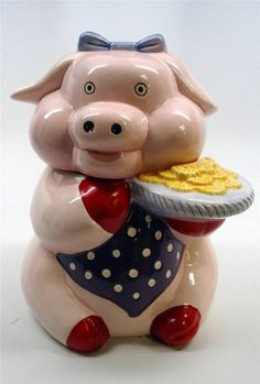 Pig Piglet w Bow Tray of Cookies Ceramic Large Cookie Jar Hand Painted
