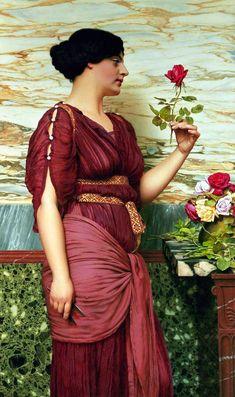 John William Godward - A Red Rose