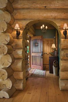 Awesome foyer nice big chunky logs