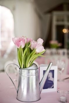 Watering Can Tulip Centerpieces