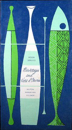 1960's Beverages & Hors d'Oeuvres Room Service menu  Hilton Hawaiian Village - Waikiki