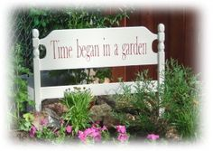 love this idea of old headboard as garden sign
