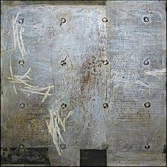 """IVO STOYANOV,  """"TRACES"""" VII  2002 Mixed media on canvas 30""""x30"""""""