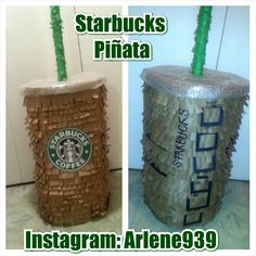 Starbucks Birthday Party Pinata Cupcakes Decorations Coffee Frappuccino Gift Wrapping Packaging I made it all... DIY Handmade Instagram: Arlene939