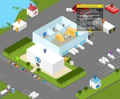 Cold storage warehouse  logistic system digital map.