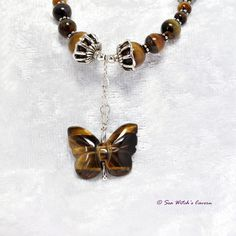 Tiger Eye Necklace with Butterfly and Bali Sterling Silver, Tiger Eye Jewellery, Gemstone Necklace, UK Seller, A0266 by SeaWitchsCavern on Etsy