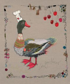'Feeling Lucky Duck''A National Treasure' Free Machine Embroidery and Painting on Canvas. Mixed Media Textile Art, Textile artist Artist Study Lou Gardiner , Resources for Art Students , #CAPI ::: Create Art Portfolio Ideas at milliande.com , Art School Portfolio Works
