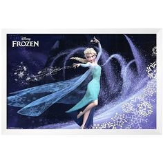 "24"" x 36"" Disney's Frozen Elsa Framed Wall Art by Art.com, Blue ($360) ❤ liked on Polyvore featuring home, home decor, wall art, blue, disney wall art, blue home decor, blue home accessories, disney home decor and horizontal wall art"