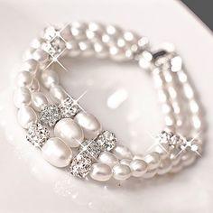 Sterling Silver Multi Strand Pearl Bracelet Bridal by MARTALILY