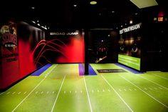 "Amazing indoor ""turf"" G-Floor Graphic- printable flooring material"