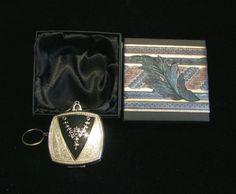 1920s Evans Compact Purse Art Nouveau Enamel Powder Rouge Compact Dance Purse Finger Ring