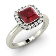 Cushion-Cut Ruby  and Diamond  Halo Ring in 14k White Gold