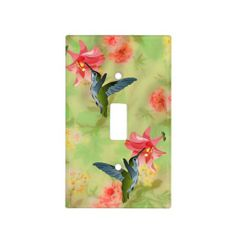 Hummingbird and Pink Lily on Floral Pattern Light Switch Cover