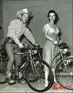 """Roy Rogers and Dale Evans... I love this picture. Such beautiful smiles. Riding """"city horses"""" : ) That's my kinda horse"""