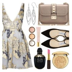 """""""🔆"""" by audreyroset ❤ liked on Polyvore featuring Notte by Marchesa, Belk Silverworks, Valentino, Jimmy Choo, Alexander McQueen, Christian Dior, Kevyn Aucoin, By Terry and AERIN"""