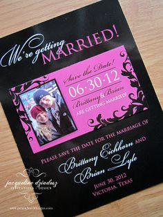 Black and Pink Wedding Save the Date Magnet