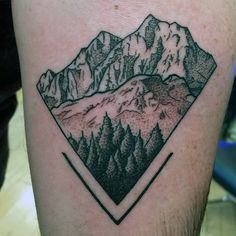 Mens Tinted Rocky Mountain Triangle Tattoo On Back Of Leg Back