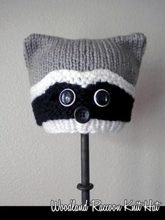 Woodland Raccoon Knit Hat pattern, includes ALL sizes. Easy to knit, quick to knit.