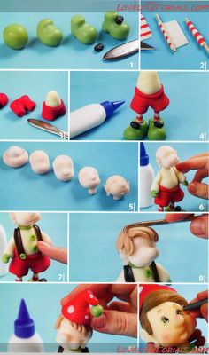 "МК лепка ""Санта Клаус и Эльф"" -Gumpaste (fondant, polymer clay) Santa Claus and Elf figures sculpting tutorial - Мастер-классы по украшению тортов Cake Decorating Tutorials (How To's) Tortas Paso a Paso"