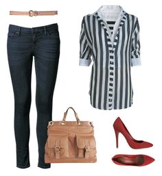 calça jeans + camisa listrada + scarpin colorido