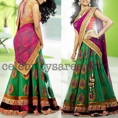 love the half saree the colours are cute Indian Wedding Outfits, Indian Outfits, Indian Clothes, Indian Weddings, Half Saree Designs, Saree Blouse Designs, Indian Attire, Indian Wear, Indian Style