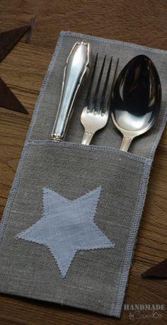 Funda cubiertos de lino con #estrella                                                                                                                                                      Más