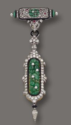 Art Deco Jade, Diamond and Enamel Pendant-Watch, Cartier, Paris, circa 1925
