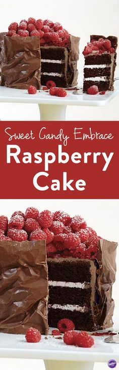 Sweet Candy Embrace Raspberry Cake - Hugged in a blanket of candy, this decadent raspberry cake is sure to indulge every palate. Make the textured candy wrap with Candy Melts Light Cocoa Candy for an elegant touch. Finish with fresh raspberries and a dusting of confectioners' sugar.