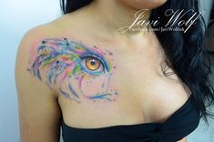 Watercolor eye tattoo Tattooed by Javi Wolf -------  I see you pinning!  Enjoy! Pin all you want!