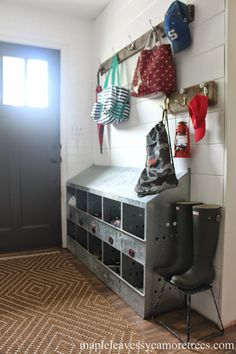 Love the bins and hangers AND the door for our laundry room.Farmhouse Entryway Mudroom, Chicken nesting box as an organizational tool is clever Chicken Nesting Boxes, Farmhouse Style Decorating, Farmhouse Design, Modern Farmhouse, Country Farmhouse, Diy Decorating, Farmhouse Table, Farm House Decorating, Sweet Home