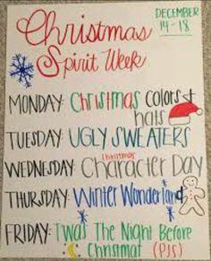 Spirit week DecemberYou can find Spirit week ideas and more on our website. Spirit Week Themes, Spirit Day Ideas, Spirit Weeks, Christmas Program, Christmas Themes, Christmas Art, Holiday Crafts, School Spirit Days, Homecoming Spirit Week
