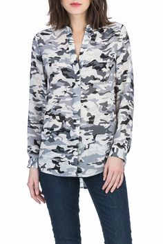 They took one of theirfavorite shapes the mandarin collar tunic and combined it with this modern recolored camo print for Fall. What's not to love!  Long Sleeve Mandarin Collar Tunic by Lilla P. Clothing - Tops - Work Clothing - Tops - Blouses & Shirts Clothing - Tops - Long Sleeve Clothing - Tops - Casual Alabama