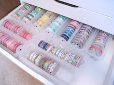 color coordinated ribbon organization