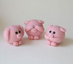 See No Evil Piggies (fliepsiebieps_) Tags: pink cute love piggy pig heart speaknoevil seenoevil valentine hearnoevil polymerclay round kawaii figurine piggies
