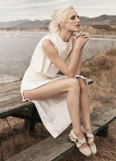 Le Fashion Blog Minimal Chic Summer Style Vogue UK Editorial Santa Barbara Andreea Diaconu Ashleigh Good By Josh Olins Crop Top 5