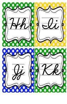 Cursive Alphabet (Polka Dots) by Mario Marzullo Cursive Alphabet, Study Habits, Penmanship, Lower Case Letters, Teacher Newsletter, Lowercase A, Banners, Mario, Bee