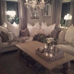 70 Beautfiul & Cozy Living Room Decoration Ideas - Home Decor & Design Glam Living Room, Cozy Living Rooms, Living Room Grey, Apartment Living, Home And Living, Living Spaces, Small Living, Modern Living, Modern Room