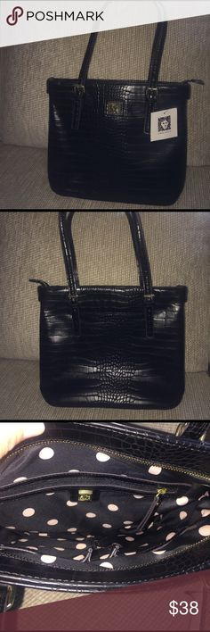 New Anne Klein Tote. New Black Anne Klein Tote. Gold fittings with zipper compartment and two small compartments. Anne Klein Bags Totes
