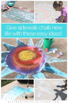 Take materials you have and give them new life with these sidewalk chalk ideas.  These ideas are perfect for group play, collaborative art projects, camp arts and crafts, or a creative afternoon on the patio.