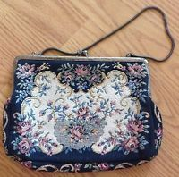 Walborg Women's Vintage Small Black Floral Carpet Purse Handbag