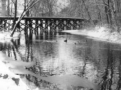 Conococheague Creek with old railroad trestle, Wilson College, Chambersburg, PA - photo by Maureen Gillmeyer '77