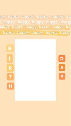 Instagram Story Template, Instagram Story Ideas, Happy Birthday, Letters, Templates, Orange, Board, Happy Brithday, Stencils