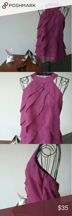 BCBG FLYAWAY NWT TOP Vibrant purple halter with threads of silver throughout,  size S, button missing on collar ( extra attached), I find as I get older I don't favor sleeveless anymore, NWT, fully lined, 100% chiffon polyester BCBGeneration Tops Blouses