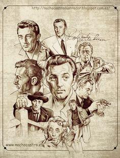 "Robert Mitchum,illustration from the book ""Hombres de Hollywood"".Nacho Castro.Diábolo ediciones"