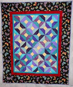 Baby/Toddler/Lap Quilt Butterfly border/purple/teal/yellow