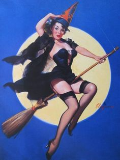 Vintage pinup witch