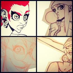 Sketches queued up for paints this weekend. #pinkhairgirls #zatransis #sketches #art