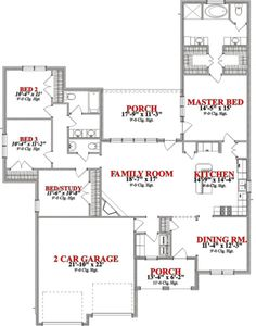 European Style House Plan - 4 Beds 2.5 Baths 2099 Sq/Ft Plan #63-314 Floor Plan - Main Floor Plan - Houseplans.com